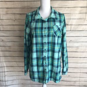 Oakley Womens Flannel Button-Up Tunic With Pockets